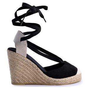 NIB Sueded black ankle wrap heel wedge espadrille